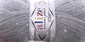 Villasisaldusega litrilõng Angora Gold Star, Alize, värv nr. 21, Helehall