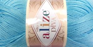 Siidja pinnaga akrüüllõng Diva Silk Effect; Värv 346 (Helesinine), Alize