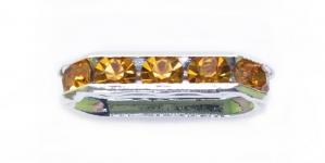 Hõbedane piklik riputis/vahedetail AB- läikega kivikestega / 18 x 7 x 4mm / EL30