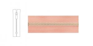 Metallivetoketju, umpiketju, pituus 19cm-20cm, 6mm hammastus, pastelli vaaleanpunainen, nikkelipinnoite metalliosissa
