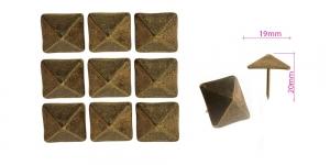 Polstrinaelad, dekoratiivnaelad, kübara tahu laius 19 mm, pinnakate: antiikpronks, 10 tk, KL0327, PB24