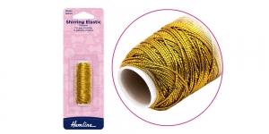 Elastic thread, shirring elastic, golden, 20m, Hemline H600.GD