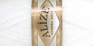 Villasisaldusega lõng Alize Angora Gold, värv 55 valge