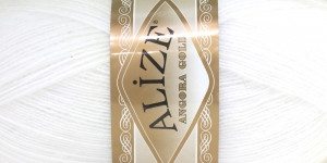 Mohäärisisaldusega lõng Alize Angora Gold, värv 55 valge