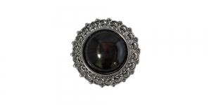 Mustja servaga, musta kristalliga, kannaga metallnööp, 15mm; 24L; SFF197/10082015-15-BN9