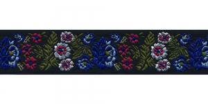 Mustal taustal lillemustriga kaunistuspael 35 mm, Art. 35097FC, värv V10 Must Sinine-lilla-valge-roheline mustriga pael