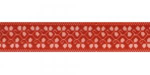Trükitud mustriga kummipael 30mm / Elastic Band / Värv 615-K Valge ornament, punasel taustal