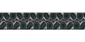 Trükitud mustriga kummipael 30mm / Elastic Band / Värv 601-K Rohelise ornamendiga, valgel taustal