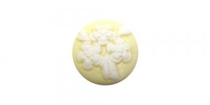 AR3 19,5mm Helekollane, valge lillekimbu pildiga kamee