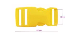 Plastikust pistlukk 45 mm x 21 mm, rihmale laiusega 15 mm, kollane, UG8