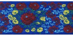 Lillekimpudega dekoratiivpael, laiusega 100 mm, värv 3N BLU, Art. 20328
