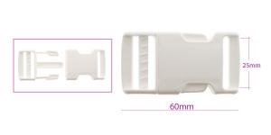 Plastikust pistlukk 60 mm x 32 mm, rihmale laiusega 25 mm, valge, UG27A