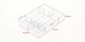 Läbipaistvast akrüülplastmassist säilituskarp kaanega, 7 lahtrit, 9,5 x 12 x 2,4 cm, KL1304