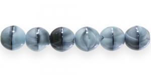 LN328A Ümar klaaspärl, Tšehhi, 12mm, Halli-, mustakirju läbipaistmatu