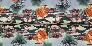 Puuvillane elastaaniga trikookangas, sinakasroheline taust