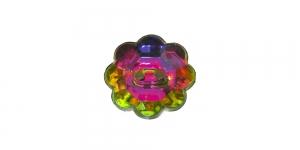 XE2 12mm Vikerkaarevärviline, läbipaistev, lillekujuline akrüülnööp