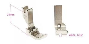 Kõrge kruvikinnitusega (tööstusliku õmblusmasina standard) paspuaalkanditald, 2 mm, renn vasakul, KL0850
