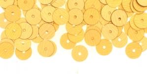 YB91 / Lamedad kettakujulised plastlitrid, mahe kuld / ø6mm