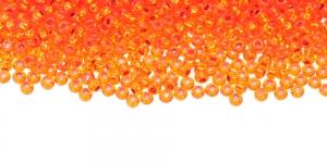 Terahelmed, seemnehelmed, Nr.10 (2,2-2.4 mm), Oranžid, läbipaistvad, hõbedase, läikiva auguga, HI104