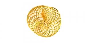 Metallist põimingdetail Kuldne, Golden Twisted Metal Spiral Charm, 22x21mm, EG4