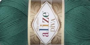 Siidja pinnaga akrüüllõng Diva Silk Effect, Alize, värv 453, sinakasroheline