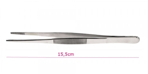 Terasest rihveldatud otsaga sirged pintsetid, 15,5cm, PK1818/TC12