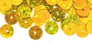 YB93 / Lamedad kettakujulised plastlitrid, sätendavad kuldsed / ø8mm
