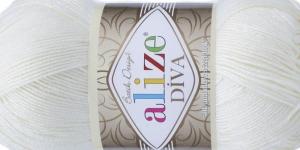 Siidja pinnaga akrüüllõng Diva Silk Effect, Alize, värv 1055, valge