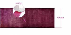 Sew on hook tape 38-40 mm, burgundy red
