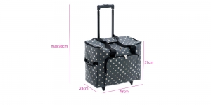 Carry Bag, Trolley Bag for Overlock and Coverlock Machines, travelling: Charcoal Polka Dot (Matt PVC): 23 x 48 x 37cm, Hobby Gift MRTB.263