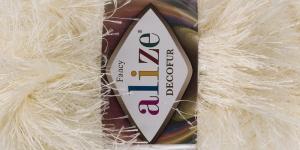 Karvane dekoratiivlõng Decofur, Alize, värv nr. 01, Kollakasvalge