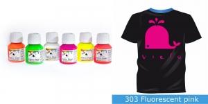 Fluoresseeruv kangavärv Fabric Paint Fluorescent, 50 ml, Vielo, Värv: kirgas roosa, #303 Fluorescent pink