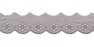 Luksuslik tikitud broderiipits laiusega 35mm I591-64, Värv: Hall
