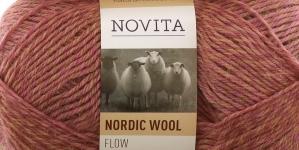 Täisvillane lõng Nordic Wool Flow, Novita, Värv 55, roosa halliga