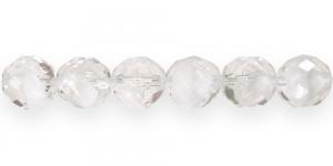 LG5 Ümar tahuline klaaspärl, Tšehhi, 12mm, Läbipaistev laiguti piimjas