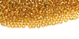 Terahelmed, seemnehelmed, Nr.10 (2,2-2.4 mm), Kuldsed läbipaistvad hõbedase, läikiva kandilise auguga, HG41A