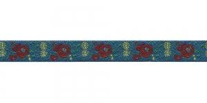 Lillekimpudega dekoratiivpael, laiusega 15 mm, värv 2N BLU, Art. 22109