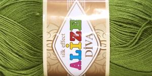 Siidja pinnaga akrüüllõng Diva Silk Effect; Värv 210 (Samblaroheline), Alize