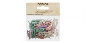 Värvilised väiksed pesupulgad 25 mm x 7 mm, 40 tk, Habico PP1051_PASTEL, IL12