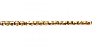 LN724A Ümar tahuline klaaspärl, Tšehhi, 3mm, Kuldne, matt läbipaistmatu