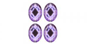 WF9 23x17mm Helelilla, ovaalne tahuline akrüülkristall, 4tk