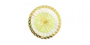 Kuldne ja heleroheline, Golden Circular Wire Charm with Light Green Adornment, 40mm, EG57