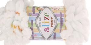 Pehme aasadega lõng Puffy Soft & Quick firmalt Alize, värv 5794, valge, kirjusäbruline
