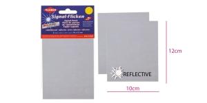 Куски ткани, 2шт, самоклеящая отражающая (3M Scotchlite), 10см х 12см, сепый/серебристый, Kleber 608-30