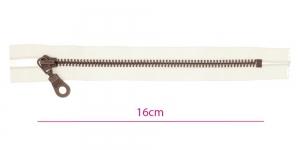 1014ОХ, Metall-tõmblukk pikkusega 16cm, 6mm antiikpronks hammastikuga, naturaalvalge, Opti ümar kelgu ripats