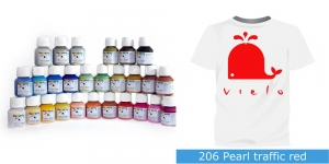 Pärlmuttervärv kanga värvimiseks, Fabric Paint Pearl, 50 ml, Vielo, Värv: punane, #206 Pearl traffic red