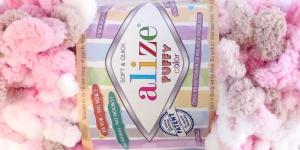 Pehme aasadega lõng Puffy Soft & Quick firmalt Alize, värv 6046, heleroosa-helebeež-valge
