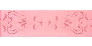 Luksuslik atlaspael sissekootud lillemustriga laiusega 64mm, Art.64969, Lõheroosa