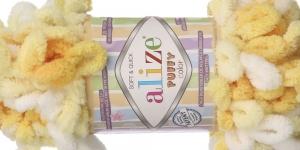 Pehme aasadega lõng Puffy Soft & Quick firmalt Alize, värv 5921, kollaste toonide-valge kirju