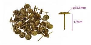 Polstrinaelad, dekoratiivnaelad, kübara ø15,5 mm, pinnakate: antiikpronks, 25tk, KL0329, PB22